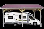 Carport double pente 30° / 1 voiture / 3,50 m x 6 m Option CAMPING-CAR hauteur passage 3,34 m
